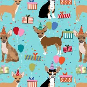 chihuahua dog birthday fabric dogs celebration design birthday hats - blue