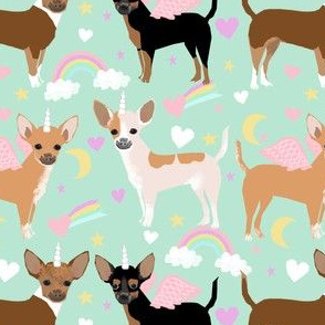 chihuahua dogs pastel unicorn fabric dogs and unicorns design - mint