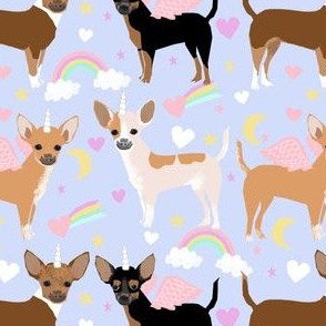 chihuahua dogs pastel unicorn fabric dogs and unicorns design - pastel