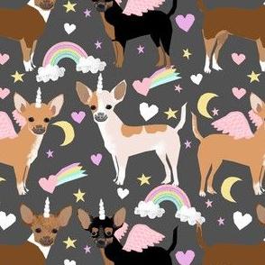 chihuahua dogs pastel unicorn fabric dogs and unicorns design - charcoal