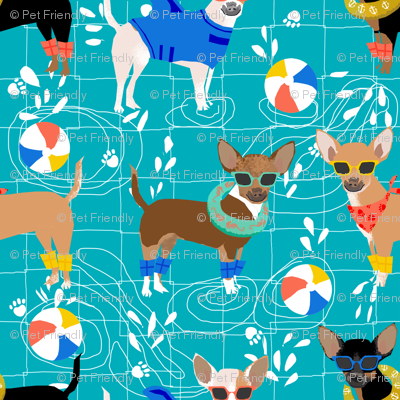chihuahua pool party summer floats summer dogs fabric - turquoise