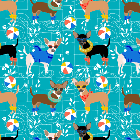 chihuahua pool party summer floats summer dogs fabric - turquoise fabric by petfriendly on Spoonflower - custom fabric