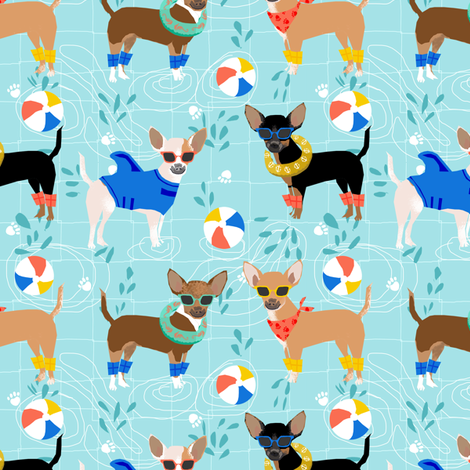 chihuahua pool party summer floats summer dogs fabric - blue fabric by petfriendly on Spoonflower - custom fabric