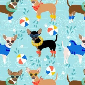 chihuahua pool party summer floats summer dogs fabric - blue