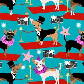 chihuahua fashion show dog fabric red carpet fashion star fabrics - turquoise
