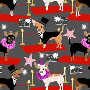 chihuahua fashion show dog fabric red carpet fashion star fabrics - charcoal