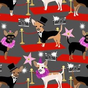 chihuahua fashion show dog fabric red carpet fashion star fabrics - charcoal