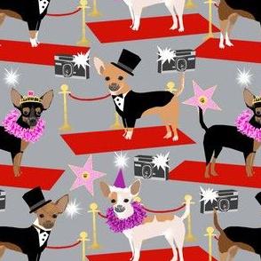 chihuahua fashion show dog fabric red carpet fashion star fabrics - grey