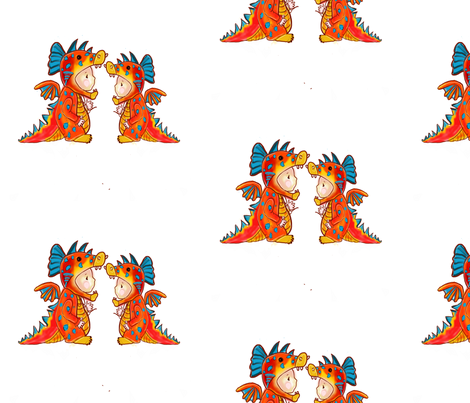 Twin Dino dressup color LARGER PRINT fabric by littlebittyprints on Spoonflower - custom fabric