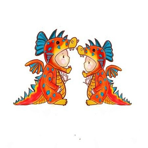 Twin Dino dressup color LARGER PRINT