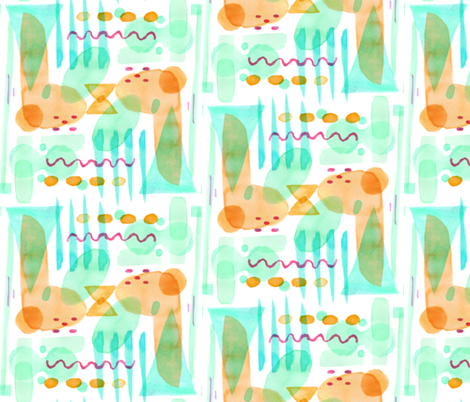 Abstract Watercolor Shapes (orange) fabric by hazelnut_green on Spoonflower - custom fabric