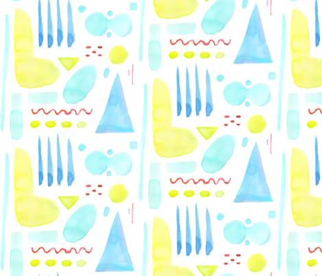 Abstract Watercolor Shapes (lime) fabric by hazelnut_green on Spoonflower - custom fabric