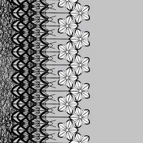 Black and White Floral Lace Border