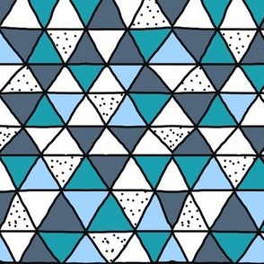 Blue and Teal Dark Outlined Geometric Triangle Speckles