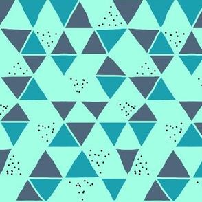 Teal Mermaid Geometric Triangle Speckles