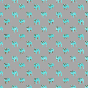 Teal Pugs (grey)