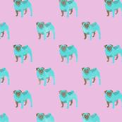 Teal Pugs (pink)