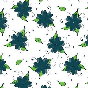Flowers and leaves and dots, oh my! Blue