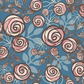 Snowy Rose Floral in Peach, Blue, Brown by Amborela