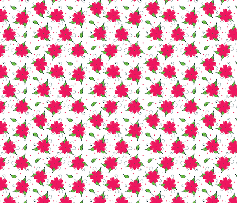 pink flowers and dots and leaves, oh my!  fabric by saint_shores on Spoonflower - custom fabric