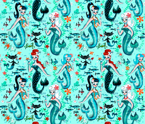 Martini Mermaids fabric by miss_fluff on Spoonflower - custom fabric