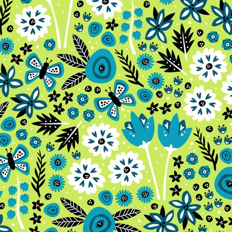 Spring Garden (Green) fabric by robyriker on Spoonflower - custom fabric