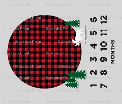 """42"""" - monthly picture blanket - buffalo plaid moose - watch me grow"""