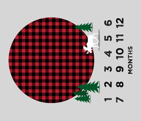 """42"""" - monthly picture blanket - buffalo plaid moose - watch me grow fabric by littlearrowdesign on Spoonflower - custom fabric"""
