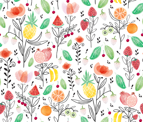 Fruits-Watercolor01-large fabric by y_me_it's_me on Spoonflower - custom fabric