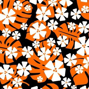 Tropical Flowers - Orange & Black
