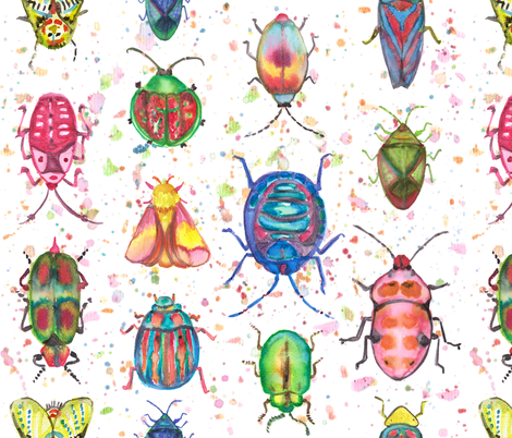 Colorful Insects in Watercolors fabric by mandalinarossa on Spoonflower - custom fabric