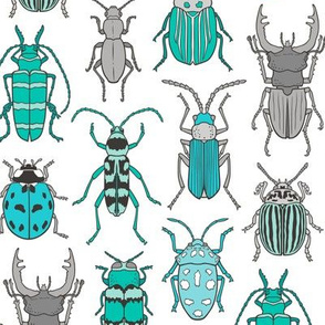 Beetles Insects Forest Bugs Mint Green Blue on White
