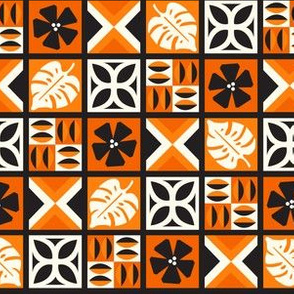 Modern Tiki Tapa - Orange & Black