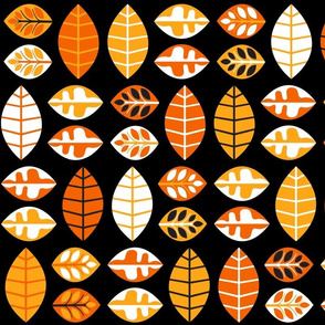 Small World Leaves - Orange & Black