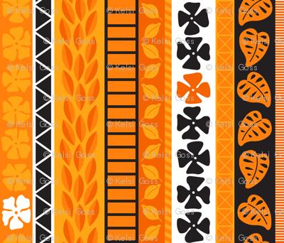 Tropical Tapa - Orange & Black