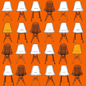 Eames Chairs - Orange & Black