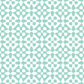 diamond checker in aqua and white