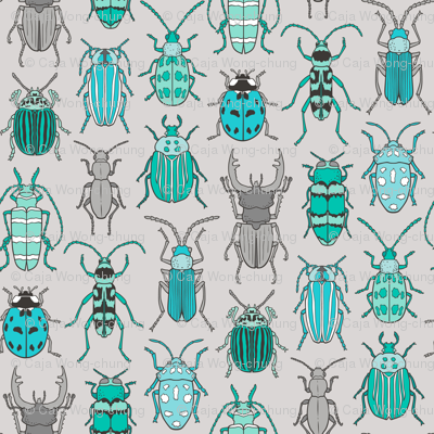 Beetles Insects Forest Bugs Mint Green Blue on Grey