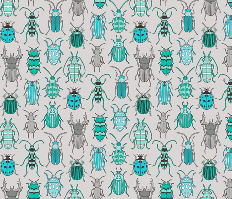 Beetles Insects Forest Bugs Mint Green Blue on Grey fabric by caja_design on Spoonflower - custom fabric