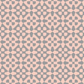 diamond checker - peach-pink and grey