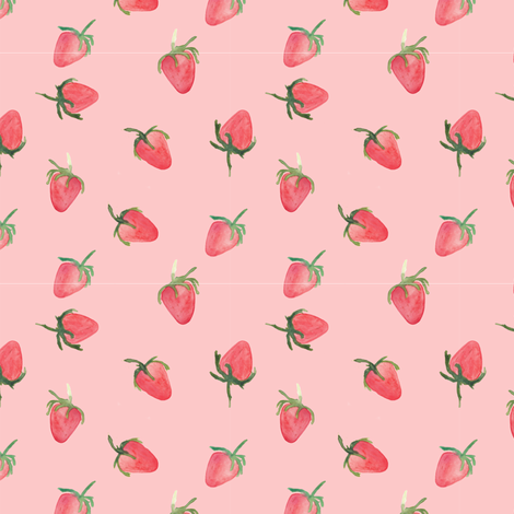 strawberries pink fabric by meissa on Spoonflower - custom fabric
