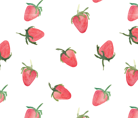 watercolour strawberries fabric by meissa on Spoonflower - custom fabric