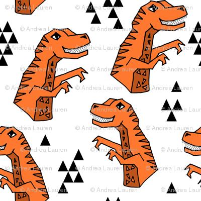 dinosaur fabric // dino kids nursery baby geometric triangles baby dino t rex orange