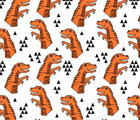 dinosaur fabric // dino kids nursery baby geometric triangles baby dino t rex orange fabric by andrea_lauren on Spoonflower - custom fabric