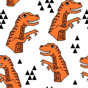 dinosaur fabric // dino kids nursery baby geometric triangles baby dino t rex orange