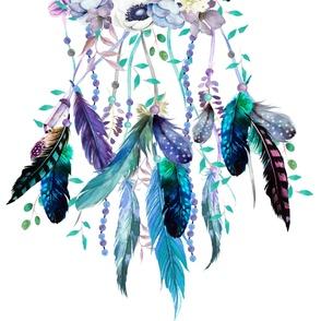 "42""x72"" Teal & Lavender Dreamcatcher"