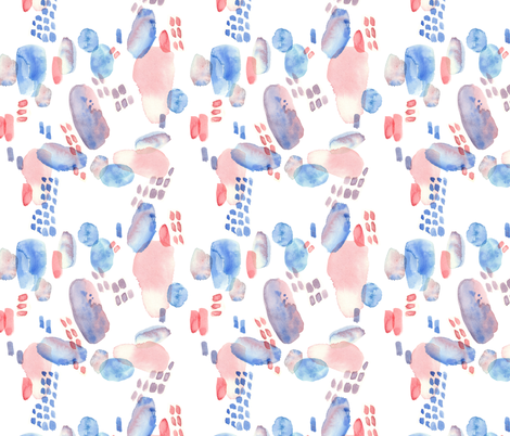 abstract emotional blue and red watercolor spots fabric by alenaganzhela on Spoonflower - custom fabric