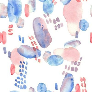 abstract emotional blue and red watercolor spots