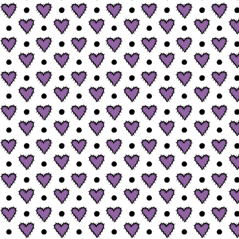 Patch Heart Mini Print - Perfect Purple  fabric by franbail on Spoonflower - custom fabric