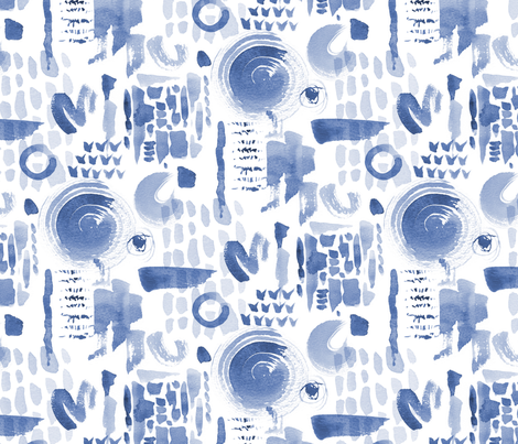 Abstract Watercolour (blue) fabric by cerigwen on Spoonflower - custom fabric